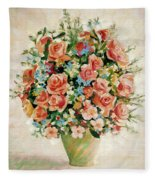 Still Life With Roses Fleece Blanket