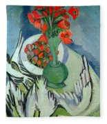 Still Life With Seagulls Poppies And Strawberries Fleece Blanket