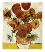 Still Life With Sunflowers Fleece Blanket