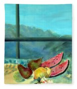 Still Life With Watermelon Oil & Acrylic On Canvas Fleece Blanket
