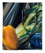 Still Life With Yellow Pepper Bok Choy Glass And Dish Fleece Blanket