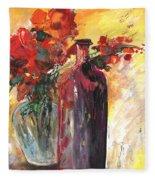 Still Live With Flowers Vase And Black Bottle Fleece Blanket