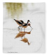 Stilt And Avocet Eat Together Fleece Blanket