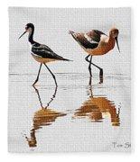 Stilt And Avocet Share The Pond Fleece Blanket