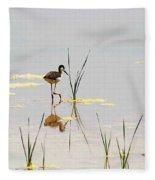 Stilt Chick Exploring Its New World Fleece Blanket