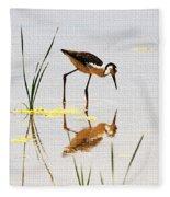 Stilt Chick Looking For Food Fleece Blanket