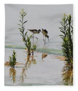 Stilts Hunting And Pecking Fleece Blanket