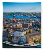 Stockholm From Above Fleece Blanket