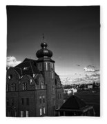Stockholm In Dark Black And White Fleece Blanket