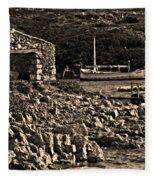 Roman Port Of Sa Nitja In Minorca - Stone And Sea Sephia Version Fleece Blanket