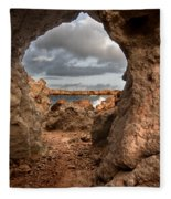 A Natural Stone Arch In North Coast Of Minorca Appears Like A Pass To One Thousand And One Night  Fleece Blanket