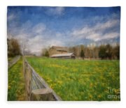 Stone Barn On A Spring Morning Fleece Blanket