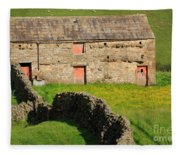 Stone Barn With Red Doors In Swaledale Yorkshire Dales Fleece Blanket