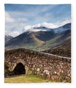 Stone Bridge In Mountain Landscape Fleece Blanket