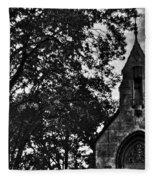 Stone Church In Black And White Fleece Blanket