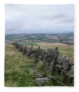 Old Dry Stacked Stone Fence Of Scotland Fleece Blanket