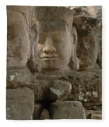 Stone Figures Cambodia Fleece Blanket