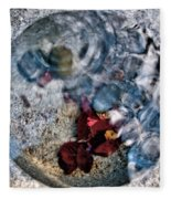 Stones And Fall Leaves Under Water-41 Fleece Blanket