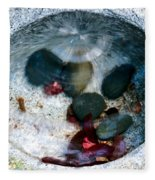 Stones And Fall Leaves Under Water-43 Fleece Blanket