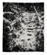 Stony Steps Covered With Snow Fleece Blanket