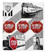 Stop For Students Painterly Bw Red Signs Fleece Blanket