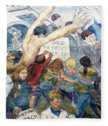 Stop The Draft Mural Berkeley Ca 1977 Fleece Blanket