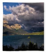 Storm Above St. Mary Lake Fleece Blanket