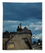 Storm Above Town Fleece Blanket
