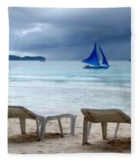 Stormy Beach - Boracay, Philippines Fleece Blanket