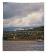 Storm Brewing Over Rip Van Winkle Bridge Fleece Blanket