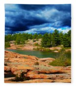 Storm Clouds Approaching Chikanashing Fleece Blanket