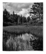 Storm Clouds Rolling In Over The Creek Fleece Blanket