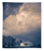 Storm Coming To The Old Farm Fleece Blanket