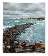 Storm In Rockport Harbor Fleece Blanket