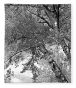 Storm Over The Cottonwood Trees - Black And White Fleece Blanket