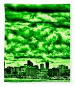 Storm Over The Emerald City Fleece Blanket