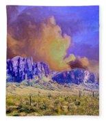 Storm Over The Superstitions Fleece Blanket