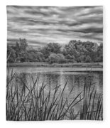 Storm Passing The Pond In Bw Fleece Blanket