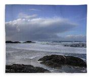 Storm Rolling In Wickaninnish Beach Fleece Blanket