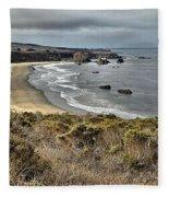 Storms Over An Unspoiled Beach Fleece Blanket