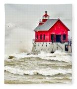 Stormy At Grand Haven Light Fleece Blanket