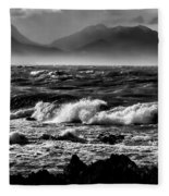 Stormy Coast New Zealand In Black And White Fleece Blanket