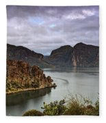 Stormy Day At The Lake  Fleece Blanket