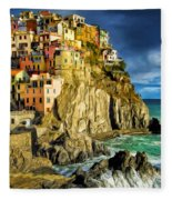 Stormy Day In Manarola - Cinque Terre Fleece Blanket