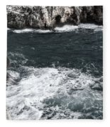 Mediterranean Sea And Rocks Sculpted By Wind And Salt In South Of Menorca Fleece Blanket
