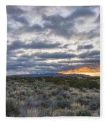 Stormy Santa Fe Mountains Sunrise - Santa Fe New Mexico Fleece Blanket