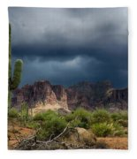 Stormy Skies Over The Superstitions Fleece Blanket