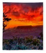 Stormy Sunset At The Watchtower Fleece Blanket