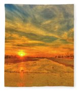 Stormy Sunset Over Santa Ana River Fleece Blanket