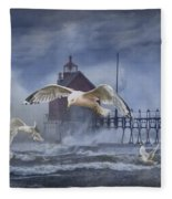 Stormy Weather At The Grand Haven Lighthouse Fleece Blanket